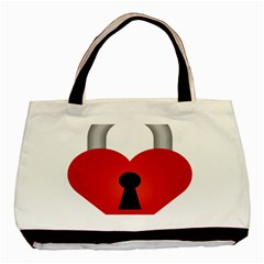 Heart Padlock Red Love Basic Tote Bag by Mariart
