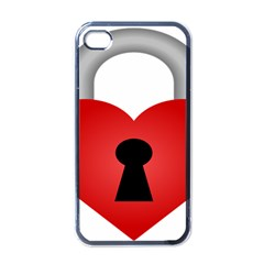 Heart Padlock Red Love Apple Iphone 4 Case (black) by Mariart