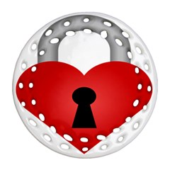 Heart Padlock Red Love Ornament (round Filigree) by Mariart