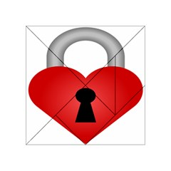 Heart Padlock Red Love Acrylic Tangram Puzzle (4  X 4 ) by Mariart