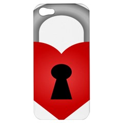 Heart Padlock Red Love Apple Iphone 5 Hardshell Case by Mariart