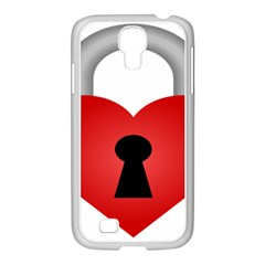 Heart Padlock Red Love Samsung Galaxy S4 I9500/ I9505 Case (white) by Mariart