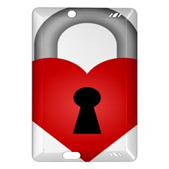 Heart Padlock Red Love Amazon Kindle Fire Hd (2013) Hardshell Case by Mariart