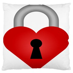 Heart Padlock Red Love Large Flano Cushion Case (two Sides) by Mariart