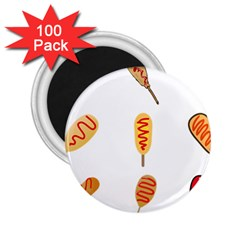 Hot Dog Buns Sate Sauce Bread 2 25  Magnets (100 Pack)  by Mariart
