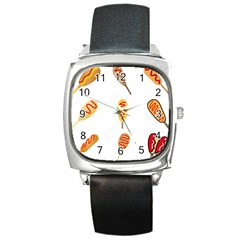 Hot Dog Buns Sate Sauce Bread Square Metal Watch by Mariart