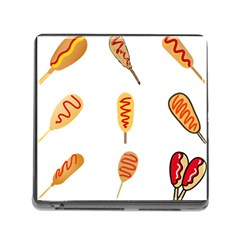 Hot Dog Buns Sate Sauce Bread Memory Card Reader (square) by Mariart