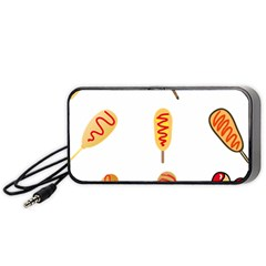 Hot Dog Buns Sate Sauce Bread Portable Speaker (black) by Mariart