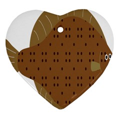 Illustrain Animals Reef Fish Sea Beach Water Seaword Brown Polka Heart Ornament (two Sides) by Mariart