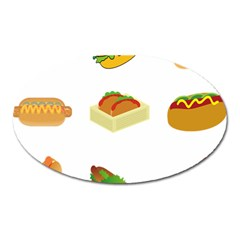 Hot Dog Buns Sauce Bread Oval Magnet by Mariart