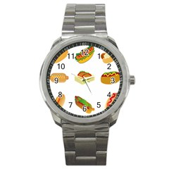 Hot Dog Buns Sauce Bread Sport Metal Watch by Mariart