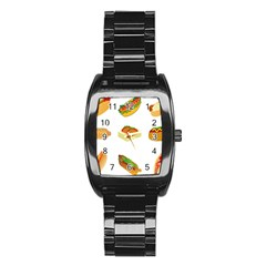 Hot Dog Buns Sauce Bread Stainless Steel Barrel Watch by Mariart