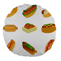 Hot Dog Buns Sauce Bread Large 18  Premium Flano Round Cushions by Mariart