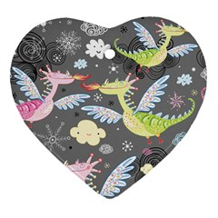 Dragonfly Animals Dragom Monster Fair Cloud Circle Polka Heart Ornament (two Sides) by Mariart