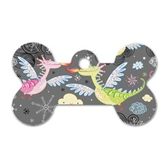 Dragonfly Animals Dragom Monster Fair Cloud Circle Polka Dog Tag Bone (two Sides) by Mariart