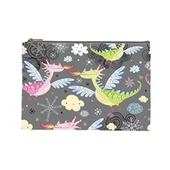 Dragonfly Animals Dragom Monster Fair Cloud Circle Polka Cosmetic Bag (large)  by Mariart