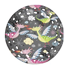 Dragonfly Animals Dragom Monster Fair Cloud Circle Polka Round Filigree Ornament (two Sides) by Mariart