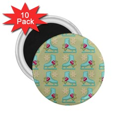 Ice Skates Background Christmas 2 25  Magnets (10 Pack)  by Mariart