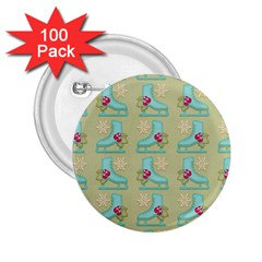 Ice Skates Background Christmas 2 25  Buttons (100 Pack)  by Mariart