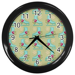 Ice Skates Background Christmas Wall Clocks (black) by Mariart