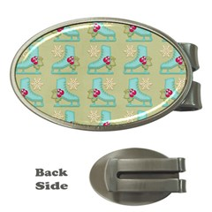 Ice Skates Background Christmas Money Clips (oval)  by Mariart