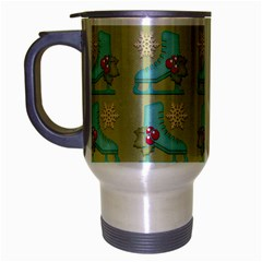 Ice Skates Background Christmas Travel Mug (silver Gray) by Mariart