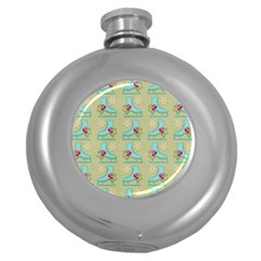 Ice Skates Background Christmas Round Hip Flask (5 Oz) by Mariart