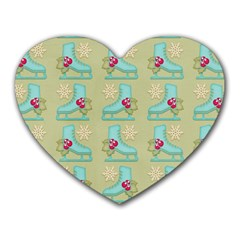 Ice Skates Background Christmas Heart Mousepads by Mariart