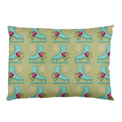 Ice Skates Background Christmas Pillow Case by Mariart