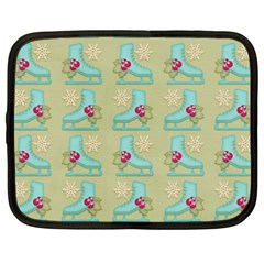 Ice Skates Background Christmas Netbook Case (xxl)  by Mariart