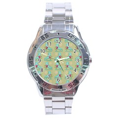 Ice Skates Background Christmas Stainless Steel Analogue Watch by Mariart