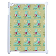 Ice Skates Background Christmas Apple Ipad 2 Case (white) by Mariart