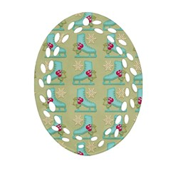 Ice Skates Background Christmas Oval Filigree Ornament (two Sides) by Mariart