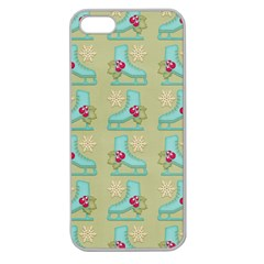 Ice Skates Background Christmas Apple Seamless Iphone 5 Case (clear) by Mariart