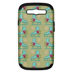 Ice Skates Background Christmas Samsung Galaxy S Iii Hardshell Case (pc+silicone) by Mariart