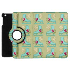Ice Skates Background Christmas Apple Ipad Mini Flip 360 Case by Mariart