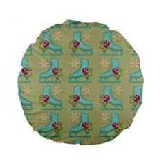 Ice Skates Background Christmas Standard 15  Premium Round Cushions by Mariart