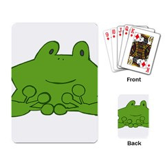 Illustrain Frog Animals Green Face Smile Playing Card by Mariart