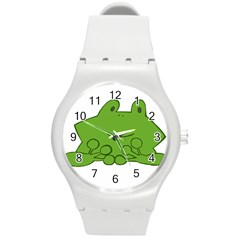 Illustrain Frog Animals Green Face Smile Round Plastic Sport Watch (m) by Mariart