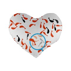 Illustrain Goldfish Fish Swim Pool Standard 16  Premium Flano Heart Shape Cushions by Mariart