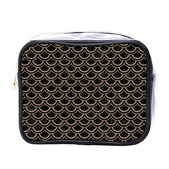 Scales2 Black Marble & Brown Colored Pencil Mini Toiletries Bag (one Side)
