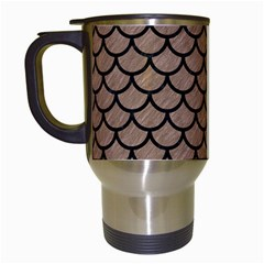 Scales1 Black Marble & Brown Colored Pencil (r) Travel Mug (white) by trendistuff