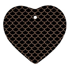 Scales1 Black Marble & Brown Colored Pencil Ornament (heart)