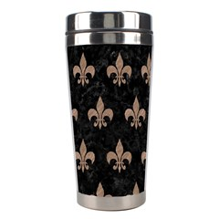 Royal1 Black Marble & Brown Colored Pencil (r) Stainless Steel Travel Tumbler by trendistuff