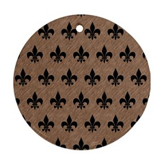 Royal1 Black Marble & Brown Colored Pencil Round Ornament (two Sides) by trendistuff