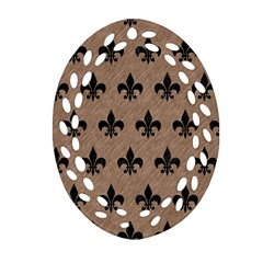 Royal1 Black Marble & Brown Colored Pencil Ornament (oval Filigree) by trendistuff