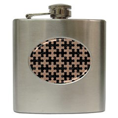 Puzzle1 Black Marble & Brown Colored Pencil Hip Flask (6 Oz) by trendistuff