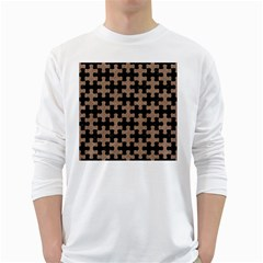 Puzzle1 Black Marble & Brown Colored Pencil Long Sleeve T Shirt by trendistuff