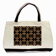 Puzzle1 Black Marble & Brown Colored Pencil Basic Tote Bag by trendistuff