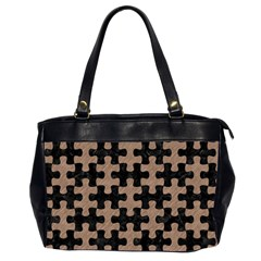 Puzzle1 Black Marble & Brown Colored Pencil Oversize Office Handbag (2 Sides) by trendistuff